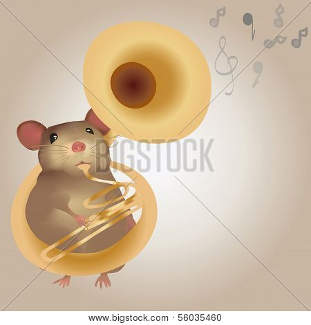 Illustration of a Mouse Playing on Tuba