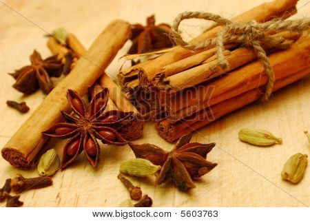 Whole Spice On Wooden Board