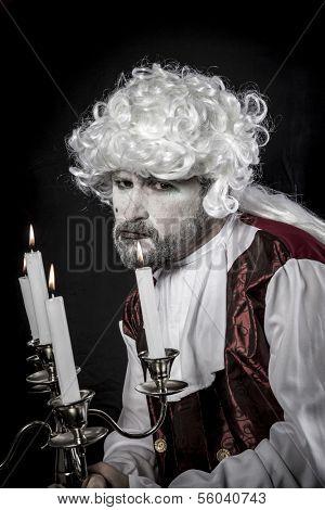 Funny, Eighteen century, gentleman rococo era wig poster