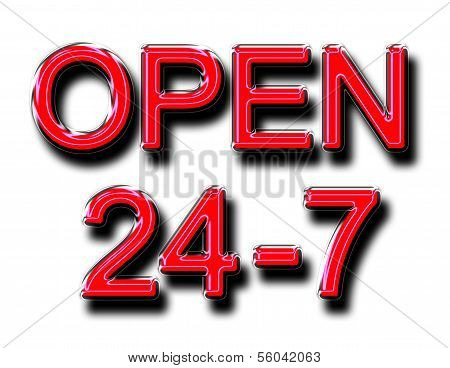 A Glowing Open 24-7 Sign In Red