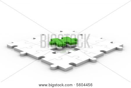 3D Puzzle With Green Piece Up