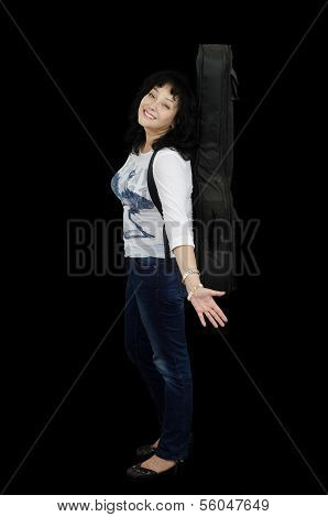 Mature Guitarist In Jeans