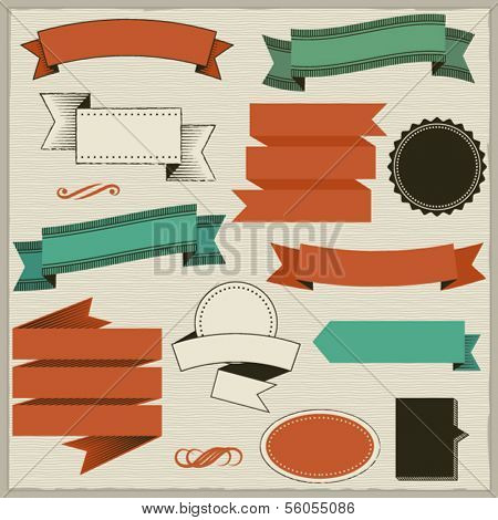 Design Elements: Banners and Frames - Set of simple banners, ribbons, frames and labels, on a subtle hand drawn background