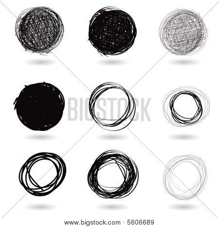 Series of pencil drawn circles