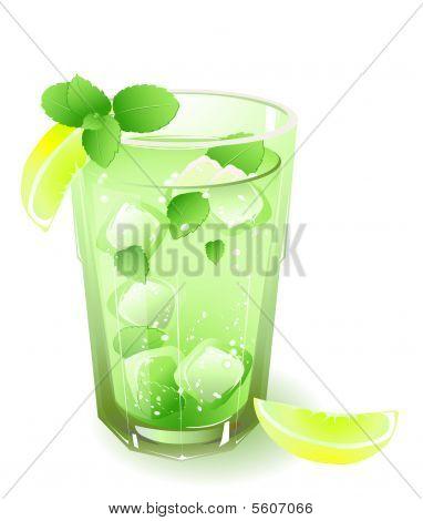glas met een drankje en bladeren van de munt