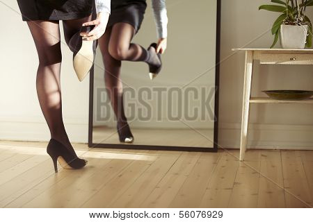 Young Woman Wearing Shoes