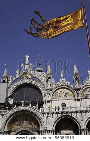 Saint Mark's Basilica With Republic Of Venice's Flag