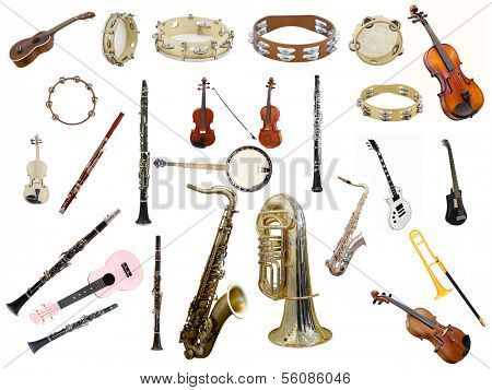 The image of instruments isolated under a white background