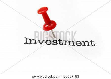 Push Pin On Investment Text