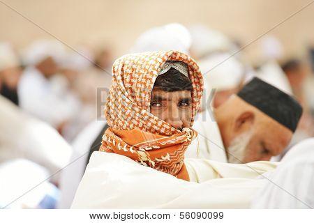 Muslim people in crowd