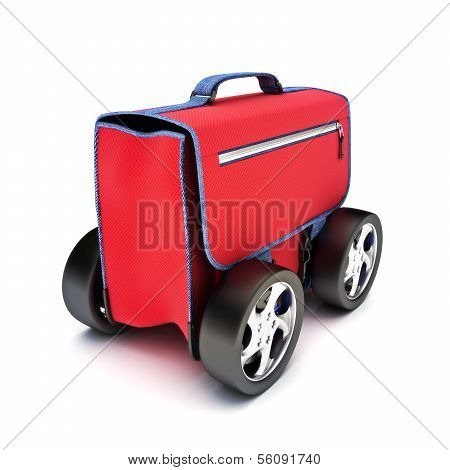 Traveling suitcase on wheels