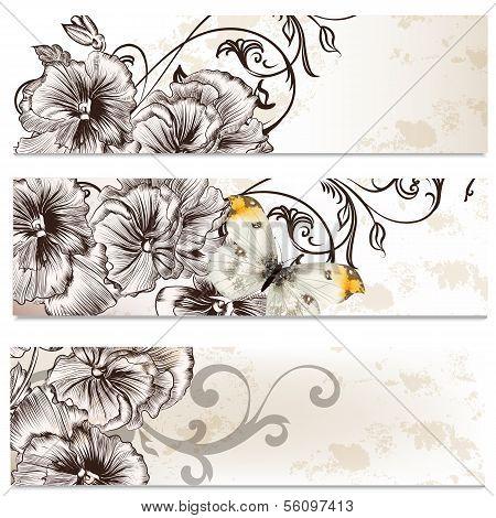 Floral Business Cards Set With Violet Flowers  For Design
