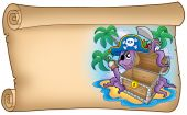 Old scroll with pirate octopus - color illustration. poster