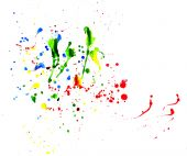 Colorful splattered paints creatively placed on white paper poster