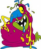 Vector illustration of ugly fat colorful bacteria poster