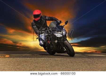 Young Man Riding Big Bike Motorcycle