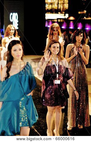 Dina El Kei With Models At Fashion Show For Her
