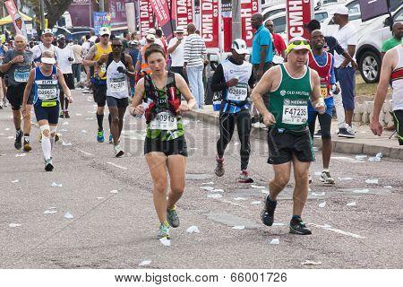 Runners Pass Through Pinetown During Comrades Marathon