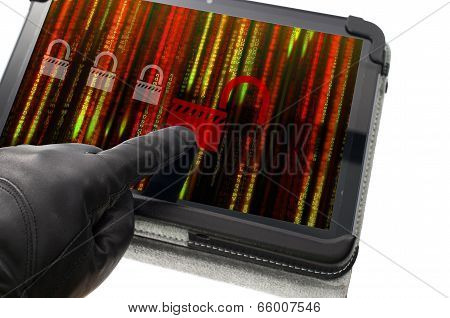 Unlocking Online System Concept With Hand Wearing Black Glove Pointing A Tablet Screen