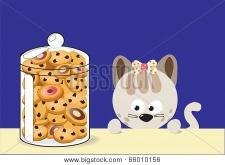 Illustration of kitty cat and cookie jar poster