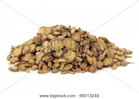 Scutellaria root used in chinese herbal medicine over white background.  Huang qin.