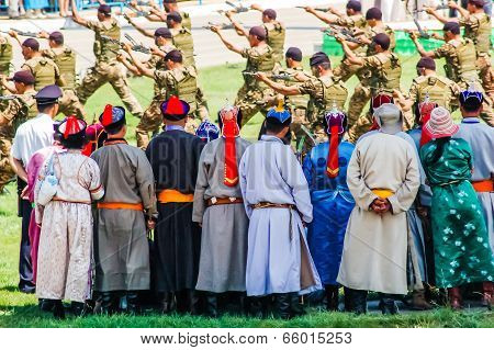 Archers Watch Army Display At Nadaam Opening Ceremony
