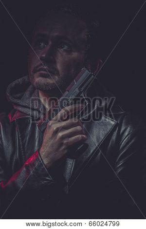 Killer, Assassin, man with black coat and gun poster