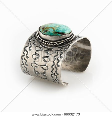 Ornate Sterling Silver Cuff bracelet with large Turquoise Stone.
