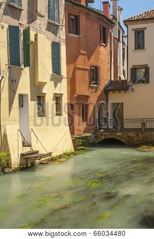 Riverside colourful buildings Treviso