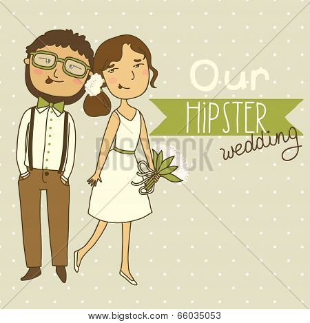 Wedding invitation with a cute couple