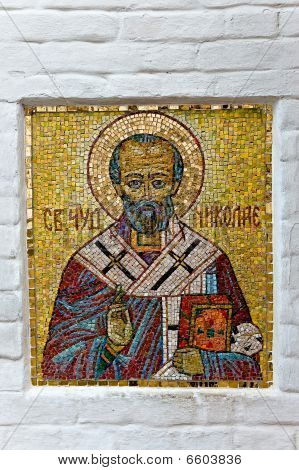 Traditional Russian Orthodox Mosaic Icon On The Church Wall.