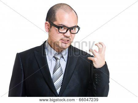 Angry business man fist up poster