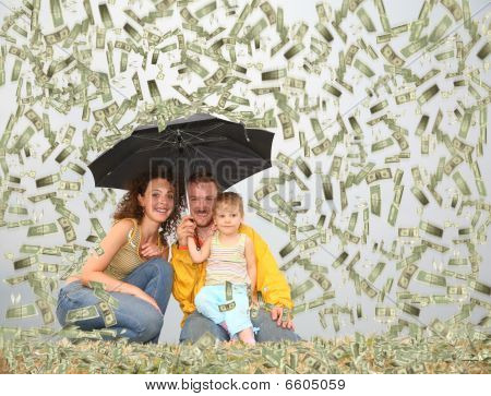 Family Wih Little Girl With Umbrella Under Dollar Rain Collage