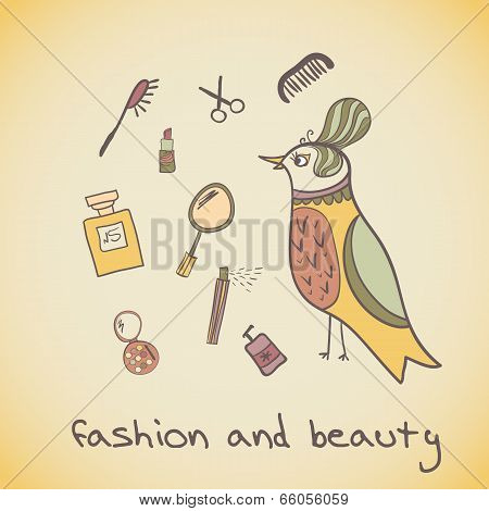 Postcard illustration of a beautiful bird. Attributes beauty. makeup cosmetics and fashion beautiful bird poster