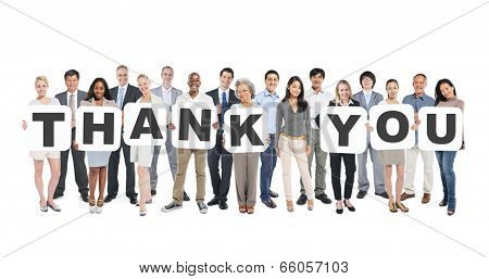 Multi-Ethnic Group Of Diverse People Holding Letters That Form Thank You