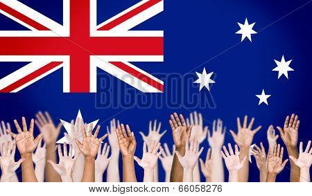 Multi-Ethnic Arms Raised and Austrailian Flag Background