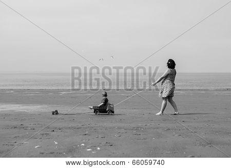 Retro Beach Scene