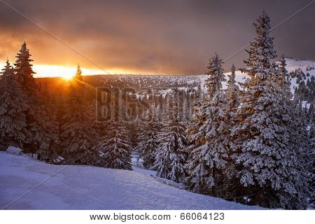 Sunrise near Praded mountain in Czech Republic