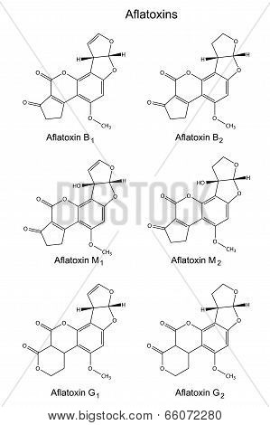 Structural Chemical Formulas Of Aflatoxins