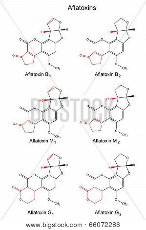 Structural Chemical Formulas Of Aflatoxins (b, M, G)