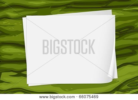 Illustration of a green surface with empty papers