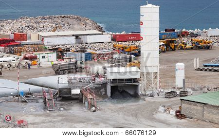 Tanger, Morocco - March 28, 2014: New Terminals Area Under Construction In Port Tanger-med 2. The Ta