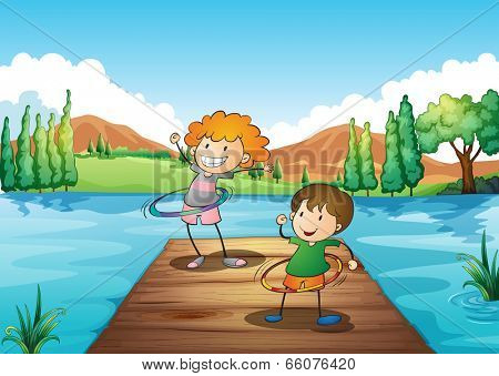 Illustration of the two kids playing hulahoop at the river