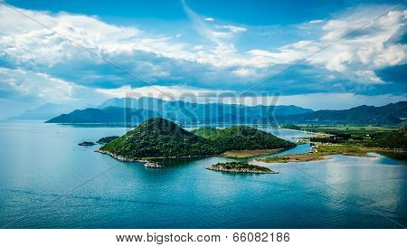 View Of The Sea, Islands And Clouds In Southern Croatia During The Summer