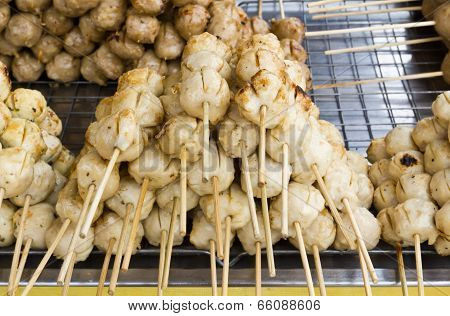 Thai Style Grilled Beef Ball In Row