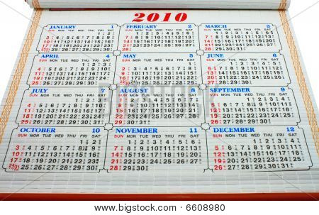 Chinese Calendar of 2010 on desk