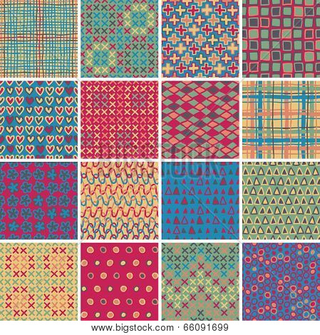Textile seamless pattern SET No.10 of 16 different playful illustrations. Illustration is in eps8 vector mode background on separate layer. poster