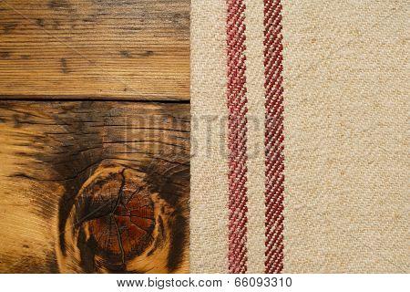 Burlap And Wood Background