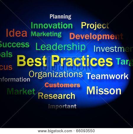 Best Practices Words Shows Optimum Business Procedures
