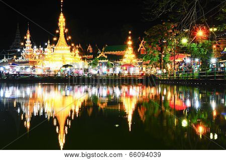Wat Jong Klang Temple Reflected In The Nong Jong Kham Pond In Mae Hong Son City, Northern Thailand